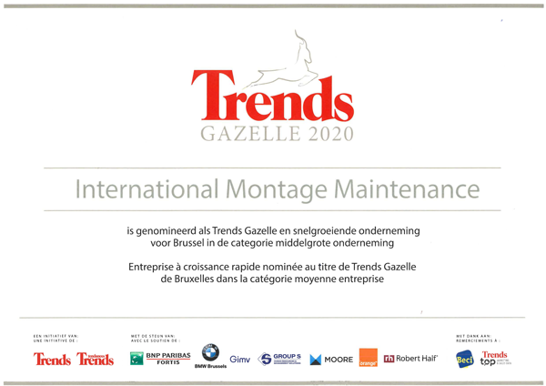 IMM is proud to be nominated, for the 3rd time, to the Trends Gazelles for Brussels