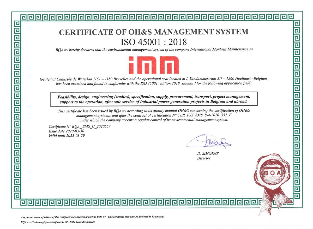 Certificat ISO 45001 décerné à IMM